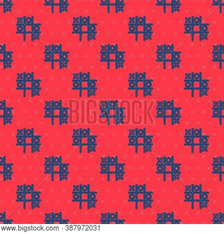 Blue Line Tic Tac Toe Game Icon Isolated Seamless Pattern On Red Background. Vector