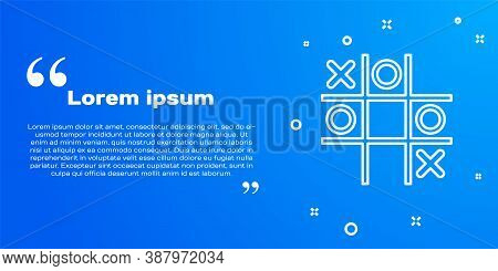 White Line Tic Tac Toe Game Icon Isolated On Blue Background. Vector