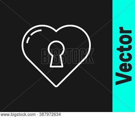 White Line Heart With Keyhole Icon Isolated On Black Background. Locked Heart. Love Symbol And Keyho