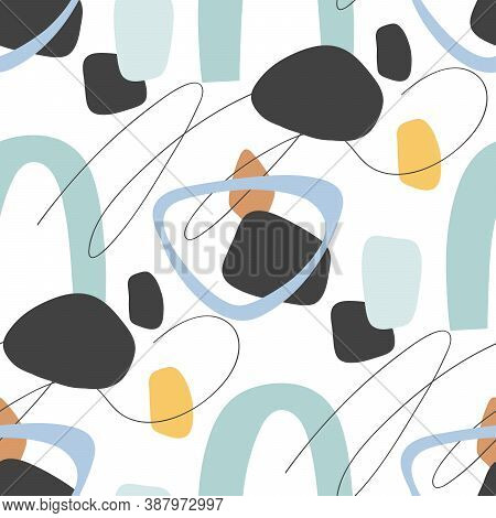 Modern Abstract Aesthetic Seamless Pattern With Natural Shapes. Terracotta Colors. For Fabric Or Wra