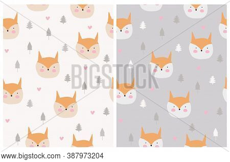 Cute Smiling Little Fox Seamless Vector Pattern. Simple Print With Kawaii Style Baby Fox, Heart And