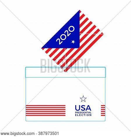 Voter Ballot Going Into A Ballot Box. 2020 Usa Presidential Election Concept. Vector Illustration