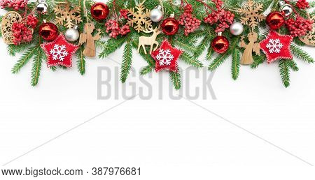 Christmas Horizontal Banner For Design Template Or Mockup With Copy Space. Christmas Garland Of Fir