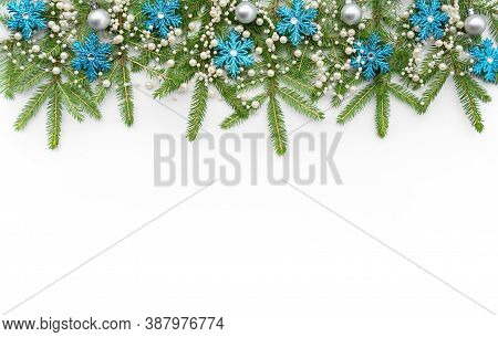 A Horizontal Garland Of Spruce Branches, Christmas Tree Decorations, Baubles. New Year Wide Banner F