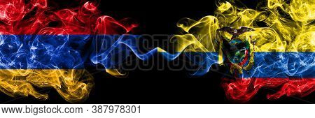 Armenia Vs Ecuador, Ecuadorian Smoky Mystic Flags Placed Side By Side. Thick Colored Silky Abstract