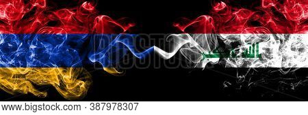 Armenia Vs Iraq, Iraqi Smoky Mystic Flags Placed Side By Side. Thick Colored Silky Abstract Smoke Fl