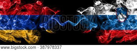 Armenia Vs Slovenia, Slovenian Smoky Mystic Flags Placed Side By Side. Thick Colored Silky Abstract