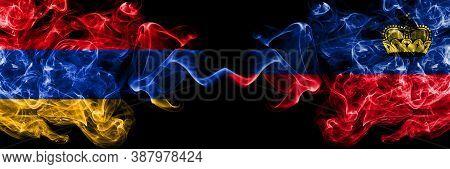 Armenia Vs Liechtenstein, Liechtensteins Smoky Mystic Flags Placed Side By Side. Thick Colored Silky