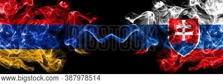 Armenia Vs Slovakia, Slovakian Smoky Mystic Flags Placed Side By Side. Thick Colored Silky Abstract