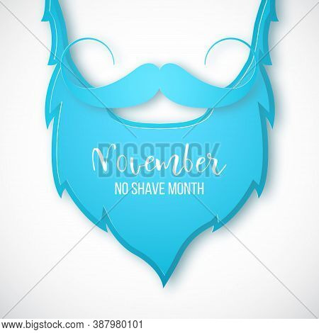 Blue Beard And Mustache In Paper Art Style. Concept Banner For No Shave Month. Stoke Vector Illustra