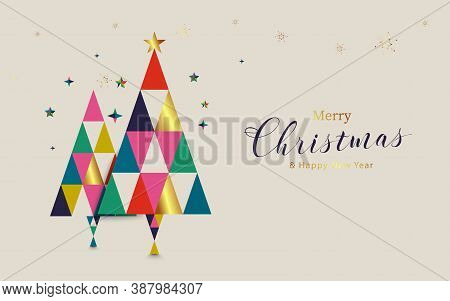 Merry Christmas And Happy New Year. Christmas Tree And Geometric Shapes.  Scandinavian Vintage Style