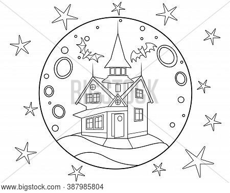 Old Mansion On The Background Of The Moon With Stars And Bats - Antistress Coloring Book - Vector Li