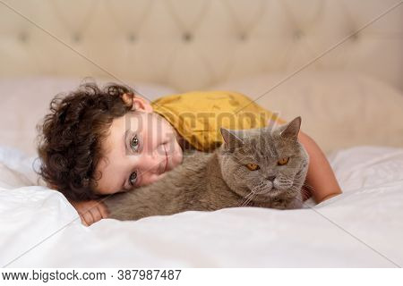 Little Boy Relaxing On The Bed With His Cat. Child Is Hugging A Kitten. Portrait Of A Small Cute Kid