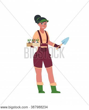 Agricultural Workers. Cute Girl Stands With Box Of Seedlings And Shovel. Cartoon Woman Gardener, Gro