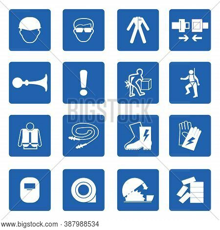 Mandatory Signs, Construction Health And Safety Sign Used In Industrial Applications.vector Illustra