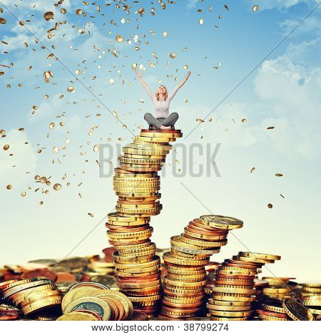 happy woman and rain of euro coin