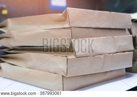 Stack Of Exam Package Container Put Papers Test With Sealable Flap, Used To Enclose Letter Or Docume