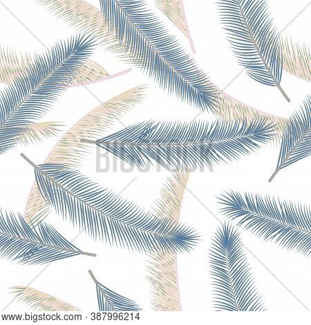 Organic Feather Plumelet Vector Pattern. Boho Wallpaper. Ethnic Aztec Feather Plumelet Wrapping Pape