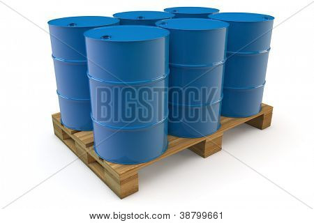 Six blue oil barrels standing on a pallet