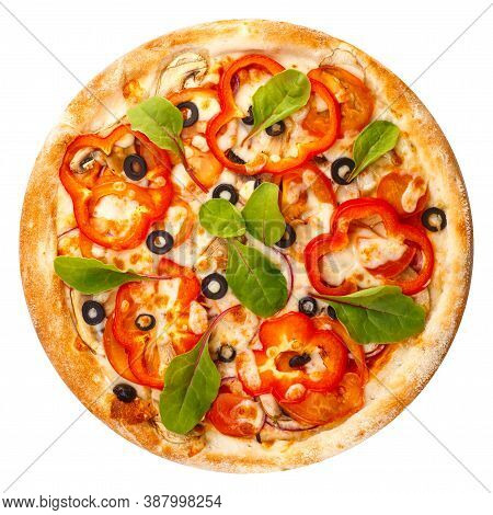 Delicious Classic Italian Pizza With Mozzarella, Peppers, Tomatoes, Onions, Olives And Arugula
