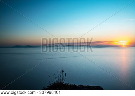 Panorama View Of Ons And Onza Islands In The Ría De Pontevedra In Galicia, Spain. This Islands Were
