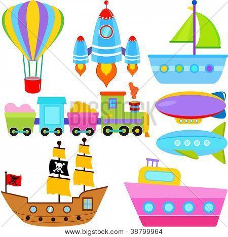 A set of cute Vector Icons : Boat / Ship / Aircraft Vehicles / Transportation
