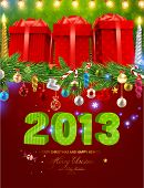 Christmas background vector image. Gifts, balls, snowflakes, candles, stars, sweet, garland, fir tree branches - all for Xmas invitation design. 2013 letters. poster