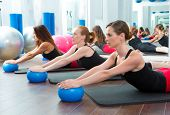 Aerobics pilates women with yoga balls in a row on fitness class poster