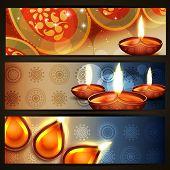 vector diwali crackers headers set poster