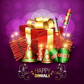 stylish diwali crackers with gift box design illustration poster