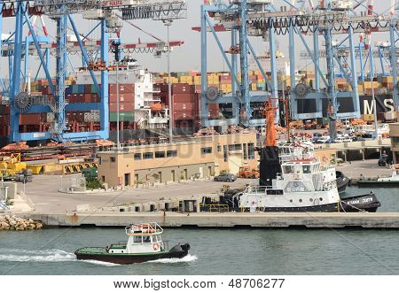 Haifa, Israel, May 19 - Patrol vessels and containers in the port city of Haifa, Israel, 2013