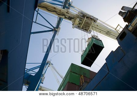 Low angle view of dockside crane against the sky Limassol Cyprus