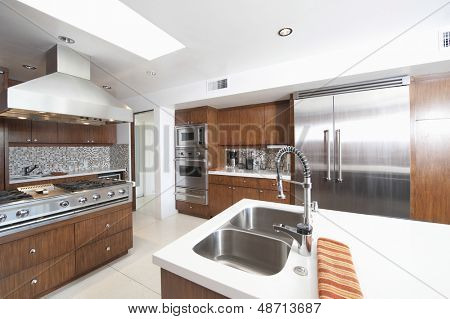 Wood and stainless steel kitchen in modern house