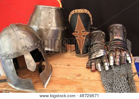 medieval helmets gloves and mail