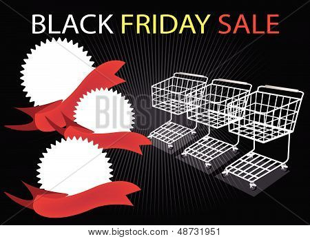 Shopping Carts And Banners On Black Friday Background
