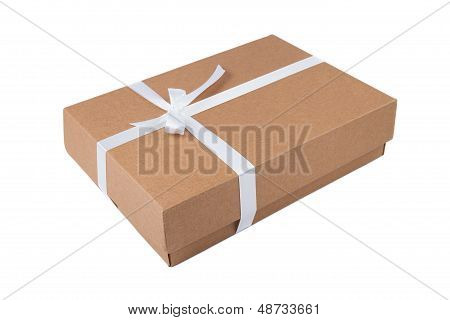 Cardboard gift box with white ribbon
