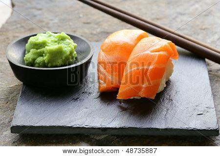 sushi with salmon - traditional Japanese food