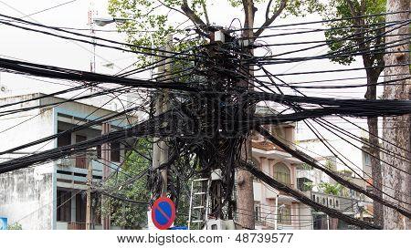 Powerline Tangle In Saigon Vietnam