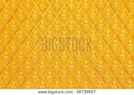 Golden Wall Of Buddhist Temple