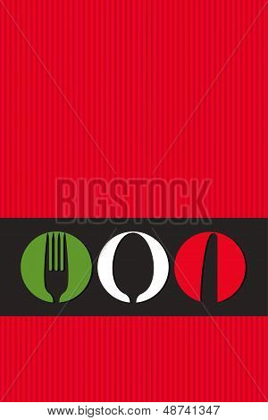 Italian Menu Design With Cutlery Symbols