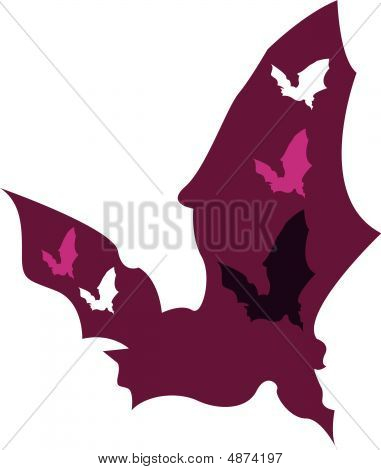 Bat Abstract purple  with colours and illustration - fun poster