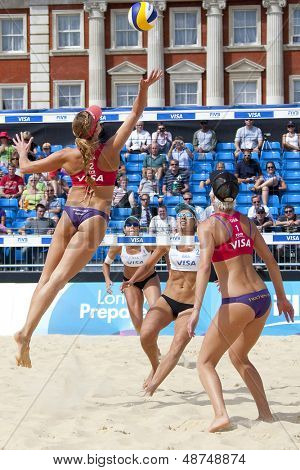 10/08/2011 LONDON, ENGLAND,  Tealle Hunkus & Heather Lowe (USA) vs Liliane Maestrini & Angela Vieira (BRA) during the FIVB Beach Volleyball tournament, at Horse Guards Parade, Westminster, London.