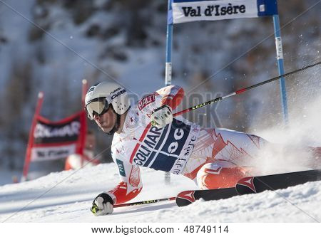 VAL D'ISERE FRANCE. 11-12-2010. SANDELL Marcus (FIN)  crashes out of the race during  the FIS alpine skiing world cup giant slalom race on the Bellevarde race piste Val D'Isere.