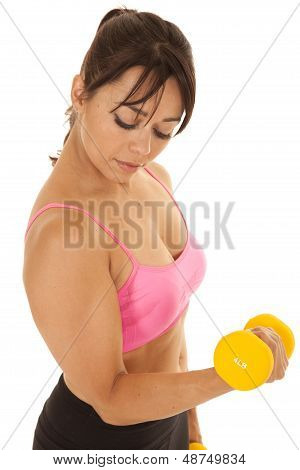 Fitness Woman Pink Sports Bra Above Curl