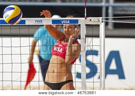 10/08/2011 LONDON, ENGLAND, Denise Johns (GBR) in action during the FIVB International Beach Volleyball tournament, at Horse Guards Parade, Westminster, London.