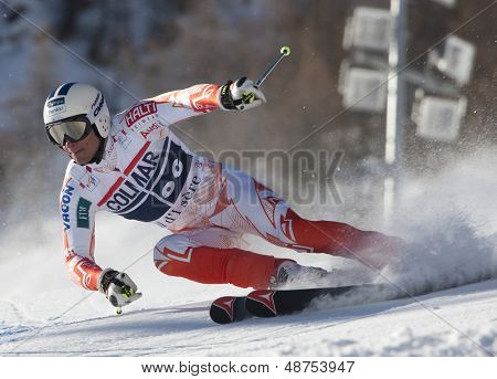VAL D'ISERE FRANCE. 11-12-2010. SANDELL Marcus (FIN) speeds down the course during  the FIS alpine skiing world cup giant slalom race on the Bellevarde race piste Val D'Isere.