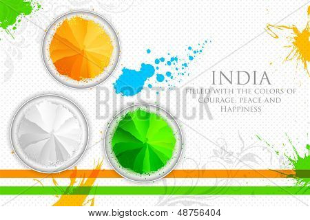 illustration of gulal in tricolor of Indian flag