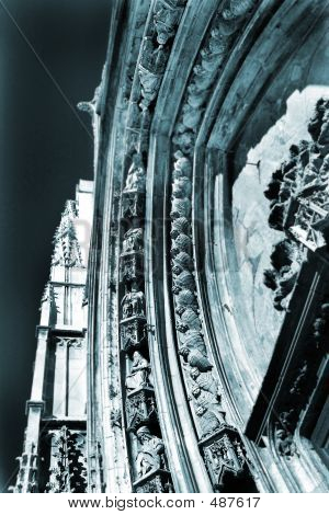 the carved marble arch of cathedrale sainte sauveur in aix-en-provence, france � statues of the saints.  blue tone, photographic technique. poster