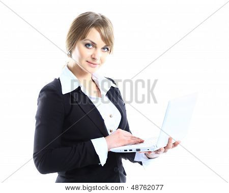 Business woman with modern popular laptop