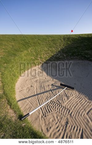 The infamous Road Hole bunker ruiner of many an Open round over the years. 17th hole St Andrews Old Course. poster